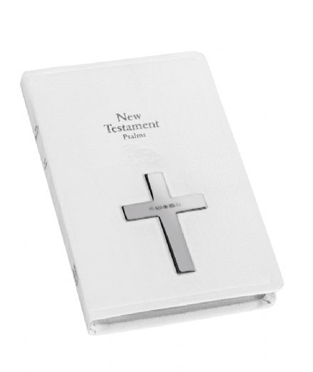 White New Testament Psalms Book with Sterling Silver Hallmarked Cross